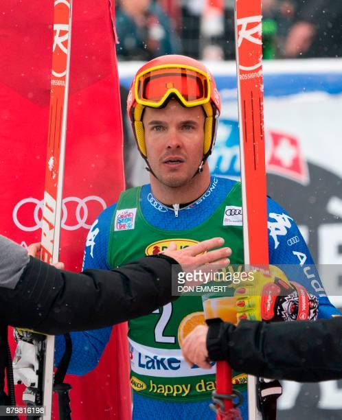 Christof Innerhofer of Italy reacts in the finish area after his sixth place finish in the FIS Ski World Cup Super G November 26 2017 in Lake Louise...