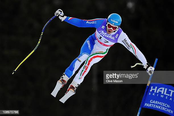 Christof Innerhofer of Italy skis in the Men's Downhill Training during the Alpine FIS Ski World Championships on the Kandahar course on February 10...