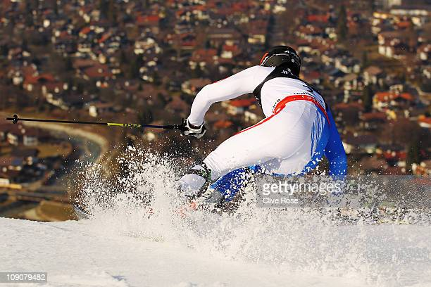 Christof Innerhofer of Italy skis in the Slalom segment of the Men's Super Combined during the Alpine FIS Ski World Championships on the Gudiberg...