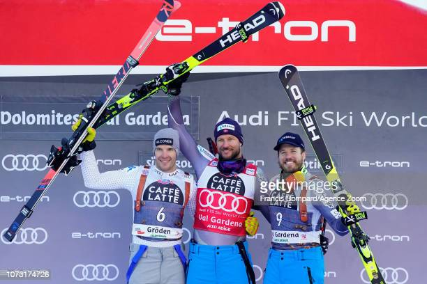 Christof Innerhofer of Italy takes 2nd place Aksel Lund Svindal of Norway takes 1st place Kjetil Jansrud of Norway takes 3rd place during the Audi...