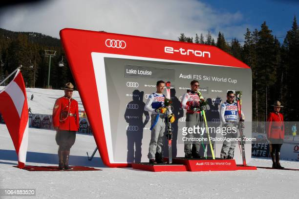 Christof Innerhofer of Italy takes 2nd place Max Franz of Austria takes 1st place Dominik Paris of Italy takes 3rd place during the Audi FIS Alpine...