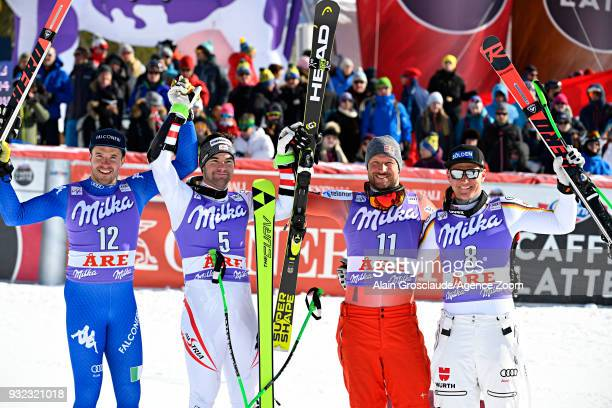 Christof Innerhofer of Italy takes 2nd place Vincent Kriechmayr of Austria takes 1st place Aksel Lund Svindal of Norway takes 3rd place Thomas...