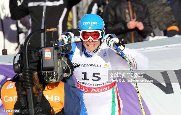 Christof Innerhofer of Italy takes the gold medal during the FIS Alpine World Ski Championships Men's SuperG on February 9, 2011 in...