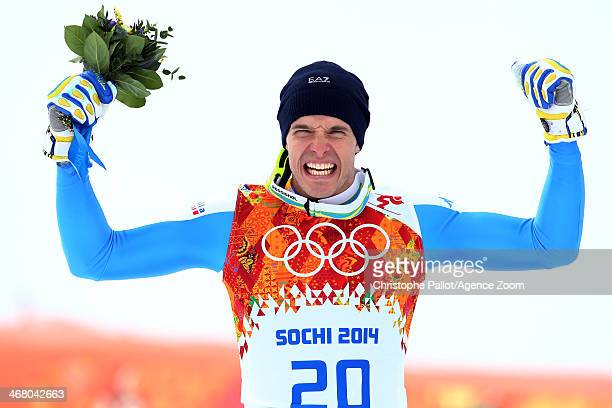 Christof Innerhofer of Italy takes the silver medal during the Alpine Skiing Men's Downhill at the Sochi 2014 Winter Olympic Games at Rosa Khutor...