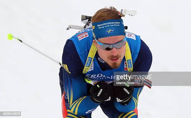 Christofer Eriksson of Sweden competes in the men's 10km sprint event during the IBU Biathlon World Cup on December 6 2013 in Hochfilzen Austria