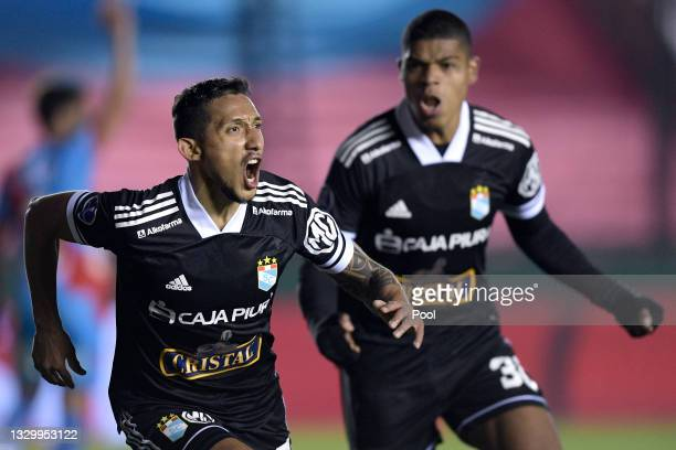 Christofer Gonzales of Sporting Cristal celebrates after scoring the first goal of his team during a round of sixteen second leg match between...