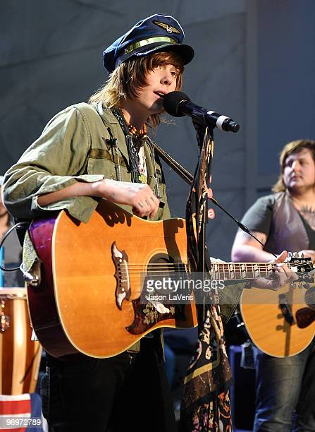 Christofer Ingle of Never Shout Never performs at the Alice In Wonderland Great Big Ultimate Fan Event at Hollywood Highland Courtyard on February 19...