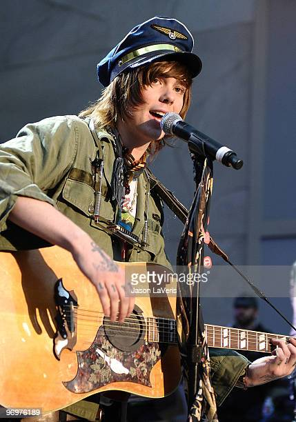 Christofer Ingle of Never Shout Never performs at the 'Alice In Wonderland' Great Big Ultimate Fan Event at Hollywood Highland Courtyard on February...