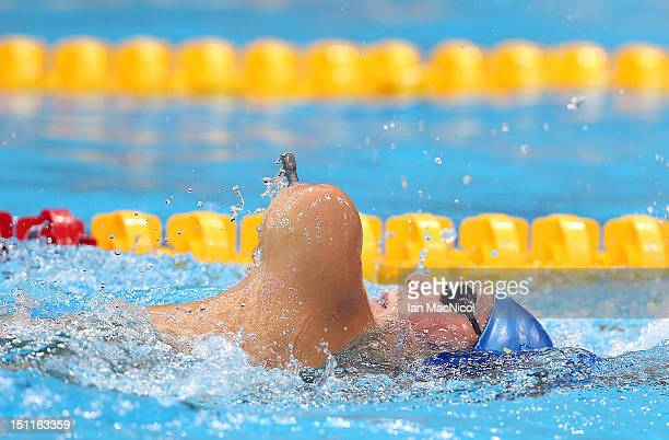 Christoffer Lindhe of Sweden competes in the final of Men's 150m IM - SM3 on day four of the London 2012 Paralympic Games at the Aquatics Centre on...