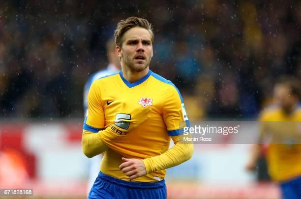Christoffer Myman of Braunschweig celebrates after scoring the opening goal during the Second Bundesliga match between Eintracht Braunschweig and VfL...
