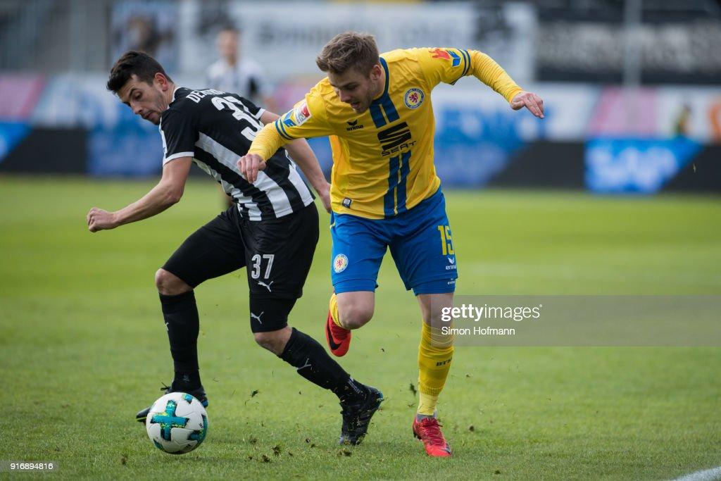Christoffer Nyman of Braunschweig is challenged by Julian-Maurice Derstroff of Sandhausen during the Second Bundesliga match between SV Sandhausen and Eintracht Braunschweig at BWT-Stadion am Hardtwald on February 11, 2018 in Sandhausen, Germany.