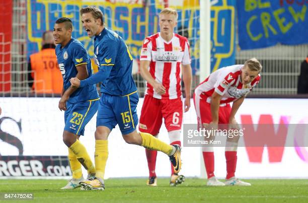 Christoffer Nyman of Braunschweig jubilates after scoring the second goal during the Second Bundesliga match between 1 FC Union Berlin and Eintracht...