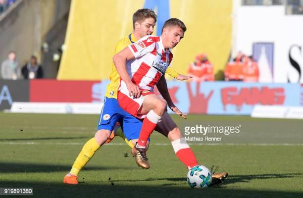 Christoffer Nyman of Eintracht Braunschweig and Grischa Proemel of 1FC Union Berlin during the second Bundesliga match between Eintracht Braunschweig...