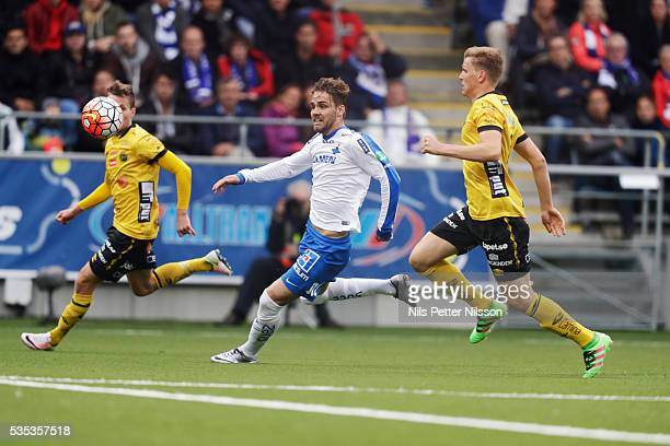 Christoffer Nyman of IFK Norrkoping and Joakim Nilsson of IF Elfsborg competes for the ball during the Allsvenskan match between IFK Norrkoping and...