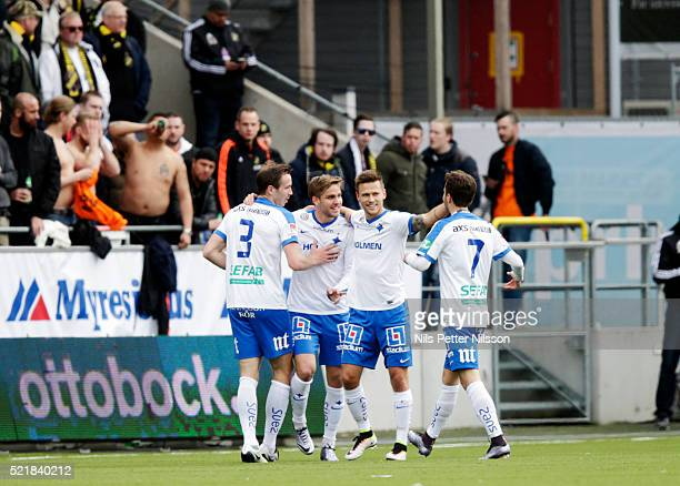 Christoffer Nyman of IFK Norrkoping celebrates after scoring 10 during the allsvenskan match between IFK Norrkoping and AIK at Ostgotaporten on April...
