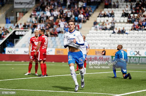 Christoffer Nyman of IFK Norrkoping celebrates after scoring to 2-1 during the allsvenskan match between IFK Norrkoping and Ostersunds FK at...