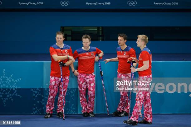 Christoffer Svae Torger Nergard Thomas Ulsrud and Havard Vad Petersson of Norway compete in the Curling Men's Round Robin Session 1 held at Gangneung...