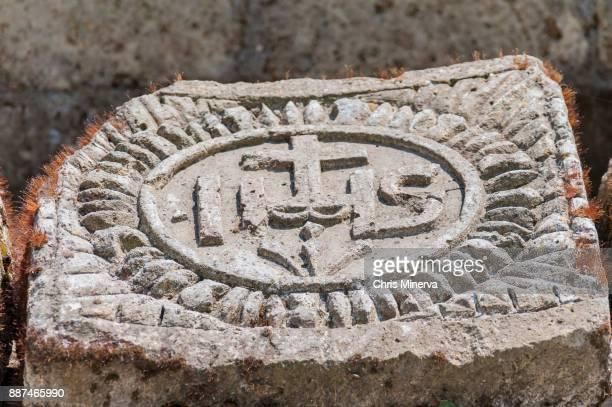 Christogram on Stone Artifact in Roman Ruins