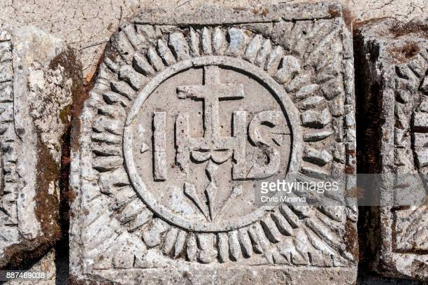 Christogram on Stone Artifact in Roman Ruins