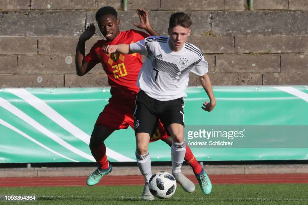 Christolithe Diozeye Mwini of Belgium challenges Winzent Suchanek of Germany during the Germany U16 v Belgium U16 International Friendly match on...
