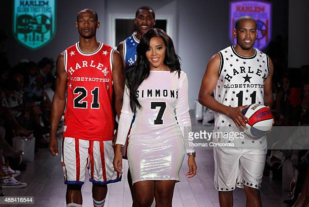 Christon Staples Corey Law Angela Simmons and Brawley Chisholm walk the runway during Angela Simmons Presents Foofi and Harlem Globetrotters 90th...