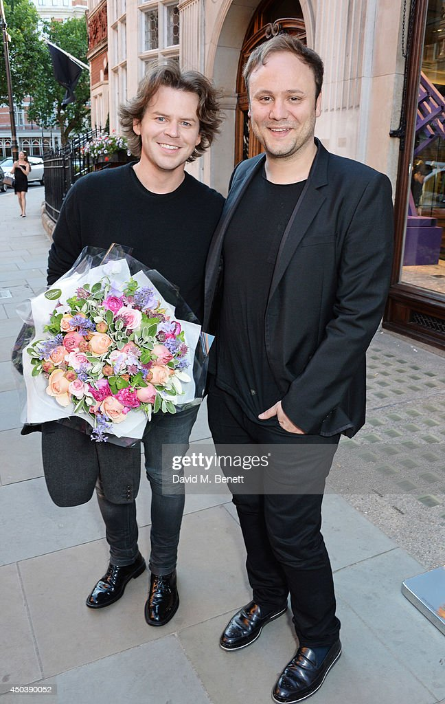Christoper Kane (L) and Nicholas Kirkwood attend the opening of Roksanda on Mount Street on June 10, 2014 in London, England.