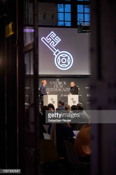 Christoph Amend and Gero von Boehm are seen at the panel talk with UNLOCK Film by ZEITmagazin at ewerk on February 19 2020 in Berlin Germany