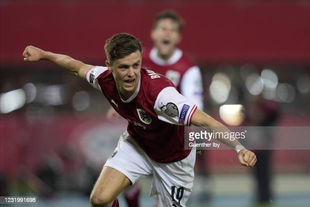 Christoph Baumgartner of Austria after his goal to 2:1 during the FIFA World Cup 2022 Quatar Qualifier match between Austria and Faroe Islands at...