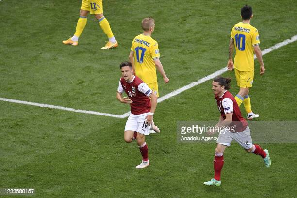 Christoph Baumgartner of Austria celebrates after scoring a goal during the EURO 2020 Group C match between Ukraine and Austria, at National Arena in...