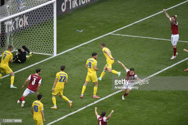 Christoph Baumgartner of Austria scores a goal during the EURO 2020 Group C match between Ukraine and Austria, at National Arena in Bucharest,...