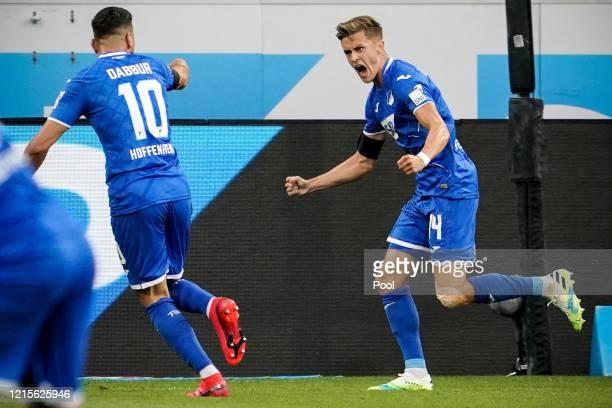 Christoph Baumgartner of Hoffenheim celebrates after scoring his teams first goal during the Bundesliga match between TSG 1899 Hoffenheim and 1 FC...