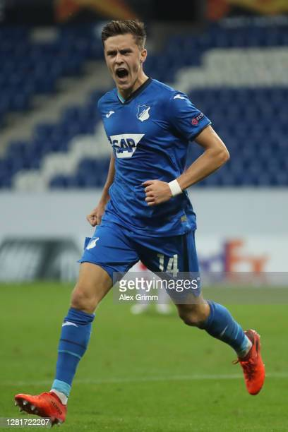 Christoph Baumgartner of Hoffenheim celebrates his team's first goal of Hoffenheim controls the ball during the UEFA Europa League Group L stage...