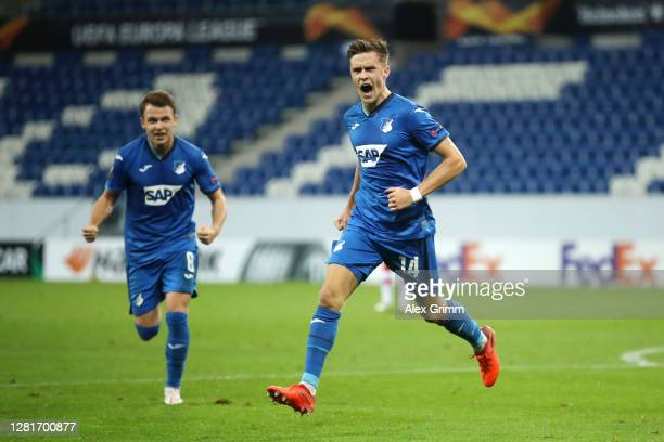 Christoph Baumgartner of TSG 1899 Hoffenheim celebrates after scoring his sides first goal during the UEFA Europa League Group L stage match between...