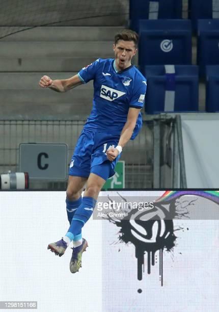 Christoph Baumgartner of TSG 1899 Hoffenheim celebrates after scoring their sides second goal during the Bundesliga match between TSG Hoffenheim and...