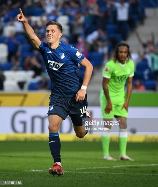 Christoph Baumgartner of TSG 1899 Hoffenheim celebrates after scoring their team's second goal during the Bundesliga match between TSG Hoffenheim and...