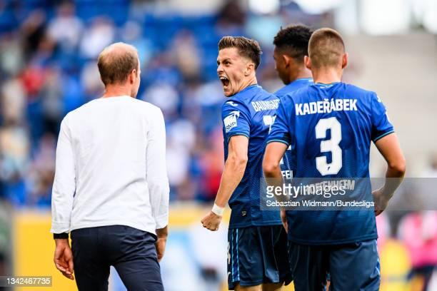 Christoph Baumgartner of TSG Hoffenheim celebrates after scoring his team's second goal during the Bundesliga match between TSG Hoffenheim and VfL...
