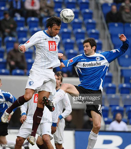 Christoph Dabrowski of Bochum and Andre Mijatovic of Bielefeld head for the ball during the Bundesliga match between Arminia Bielefeld and VfL Bochum...