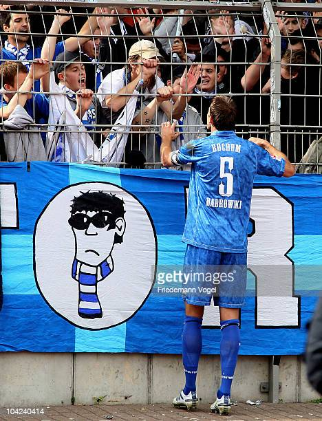 Christoph Dabrowski of Bochum speaks to the Bochum fans during the Second Bundesliga match between RW Oberhausen and VfL Bochum at the Niederrhein...