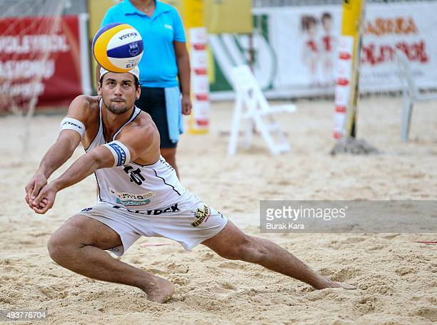Christoph Dressler of Austria receiving the ball during the 3rd day of the FIVB Antalya Open beach volley tournament October 22 in the Mediterranian...