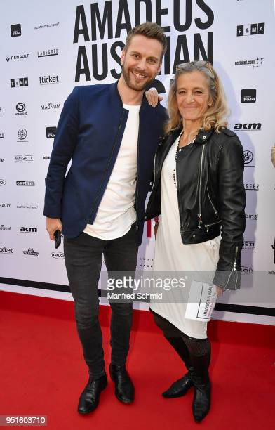 Christoph Feurstein and Kathrin Zechner pose at the red carpet during the Amadeus Award 2018 on April 26 2018 in Vienna Austria