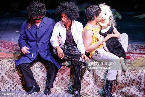 Christoph Franken, Ibrahima Balde and Marof Yaghoubi perform on stage during rehearsals for 'Tee Im Harem Des Archimedes' at Deutsches Theater Berlin...