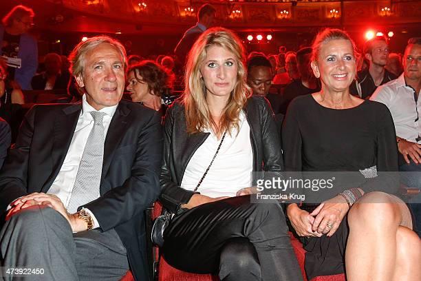 Christoph Gottschalk, Julia Gottschalk and her mother Raphaela Gottschalk attend 'Herbstblond - Gottschalks grosse Geburtstagsparty' TV Show on May...