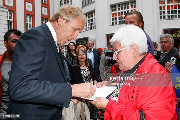 Christoph Gottschalk with a fan attend the 'Herbstblond - Gottschalks grosse Geburtstagsparty' TV Show on May 18, 2015 in Berlin, Germany.