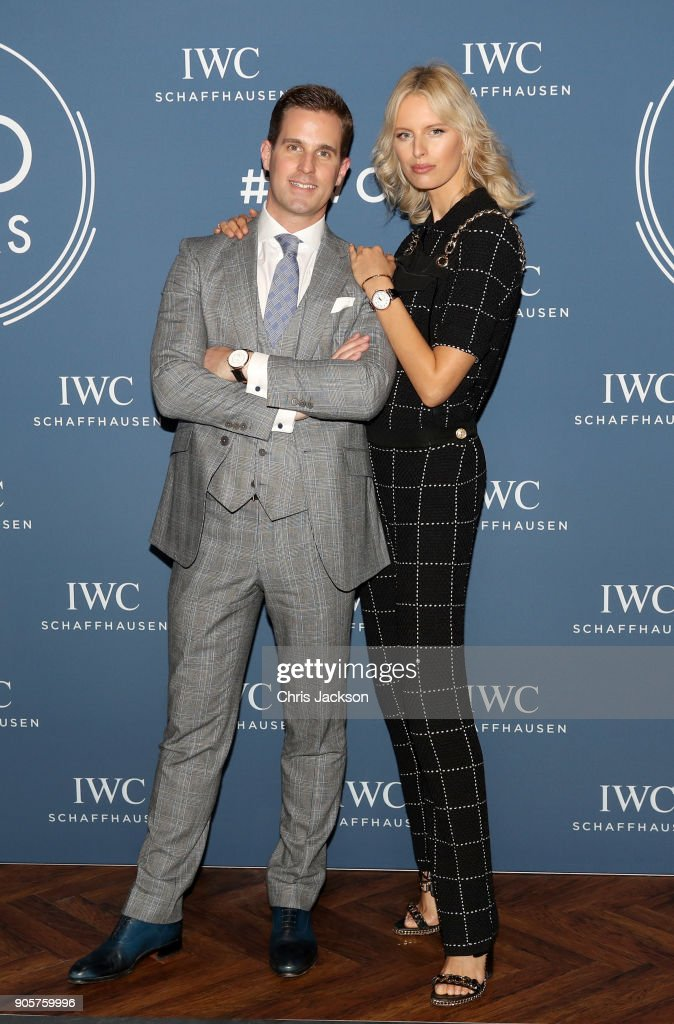 Christoph Grainger-Herr and Karolina Kurkova at the IWC booth during the Maison's launch of its Jubilee Collection at the Salon International de la Haute Horlogerie (SIHH) on January 16, 2018 in Geneva, Switzerland. #IWC150