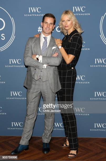 Christoph GraingerHerr and Karolina Kurkova at the IWC booth during the Maison's launch of its Jubilee Collection at the Salon International de la...