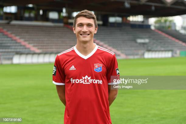 Christoph Greger of SpVgg Unterhaching poses during the team presentation at Alpenbauer Sportpark on July 4 2018 in Unterhaching Germany