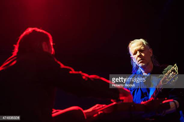 Christoph Hahn and Michael Gira of Swans perform on stage at Glasgow Art School on May 23, 2015 in Glasgow, United Kingdom