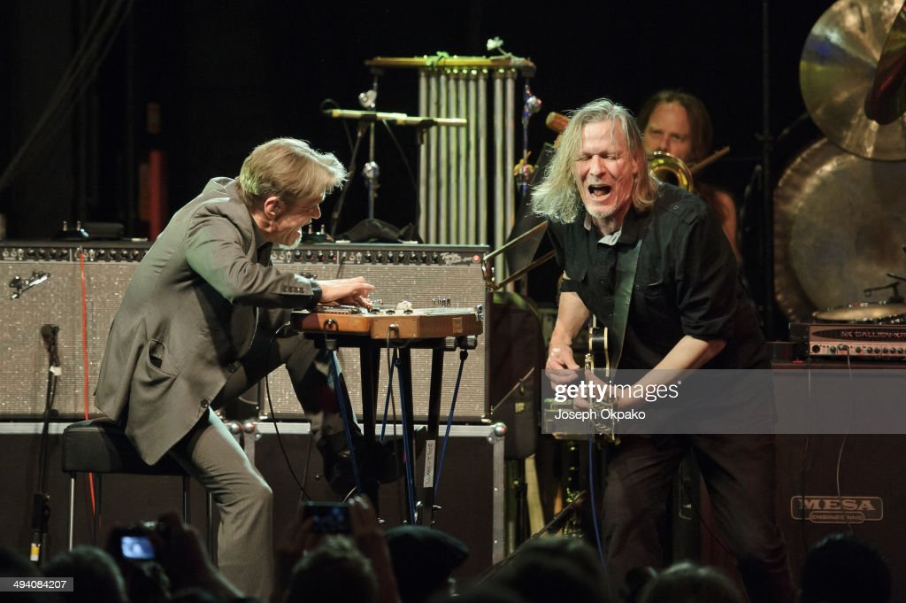 Christoph Hahn and Michael Gira of Swans performs on stage at Electric Brixton on May 27, 2014 in London, United Kingdom.