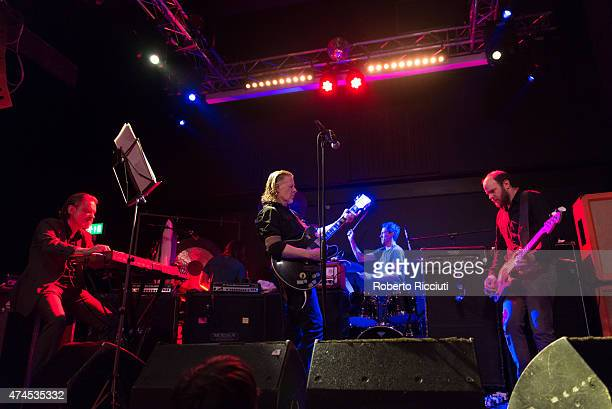 Christoph Hahn, Michael Gira, Phil Puleo and Christopher Pravdica of Swans perform on stage at Glasgow Art School on May 23, 2015 in Glasgow, United...