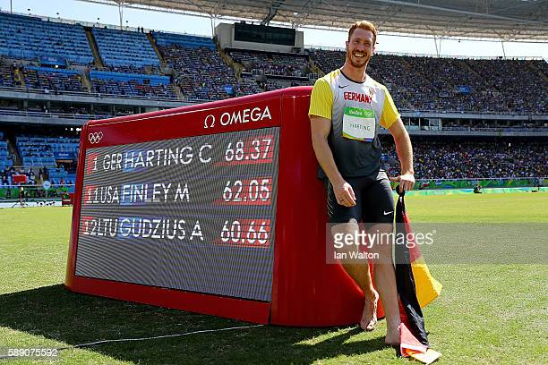 Christoph Harting of Germany celebrates winning the Men's Discus Throw Final on Day 8 of the Rio 2016 Olympic Games at the Olympic Stadium on August...